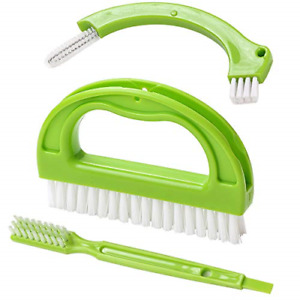 Grout Cleaner Brush Tile Joint Scrub Brush With Handle Stiff Angled Brushes 3Pcs