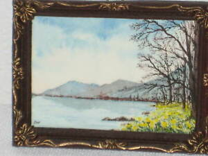 ULLSWATER 2004 TINY ORIGINAL SIGNED PAINTING IN FRAME 2 ⅞ x 2 ⅛ x ¼ ENGLAND $15.00