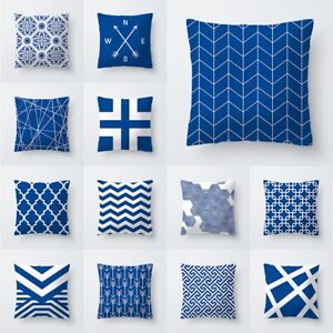 45*45cm Blue Geometric Sofa Cushion Cover Throw Pillow Case Home Decor Square $3.35
