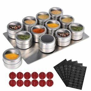 LMETJMA Magnetic Spice Jars  With  Wall Mounted Rack Stainless Steel Spice Tins