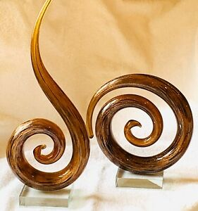 """Murano glass abstract Sculpture Pair BronzeGoldflecks 12.5""""H 7.5""""H Great cond"""