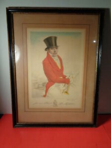 Antique 1924 Gordon Ross Signed Fox Hunt Colored Lithograph (12 by 17