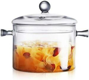 Glass Saucepan with Cover 1.5L Heat Resistant Glass Stovetop Pot