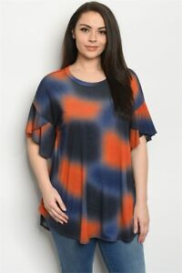 Womens Plus Size Orange and Navy Blue Tie Dye Tunic Top 1XL Ruffled Sleeves