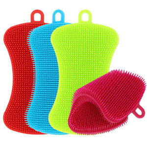 (US STOCK) 4PCS Mix Color Kitchen Cleaning Silicone Brush Pot Sponge Scrubber