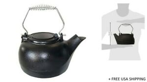 US Stove Black Cast Iron 3 qt Tea KettleI 4000421 | TK-02 New & Open Damaged Box