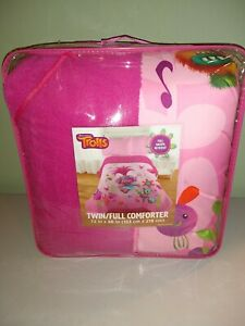 Trolls Stand Out Comforter Twin/Full pink 72X86 Full Sherpa Reverse by Dreamwork