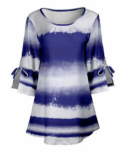 1XL NWT Women#x27;s Lily White amp; Blue Ombre Split Sleeve Tunic Top $22.40