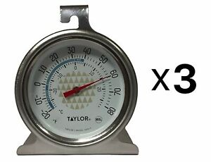 Taylor Precision Freezer Thermometer 2.5 Dial Design Stainless Steel (3-Pack)