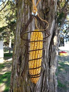 CORN COB SQUIRREL FEEDER HANGING WITH 6 EARS CORN INCLUDED .FRESH FROM FARM
