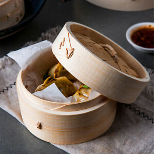 3x Natural Handwoven Bamboo Steamer Steaming Basket Dim Sum Steamer Chinese Food