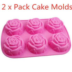 2 x Large Rose Silicone Cake Molds Ice Cube Chocolate Soap Tray Mold Party maker
