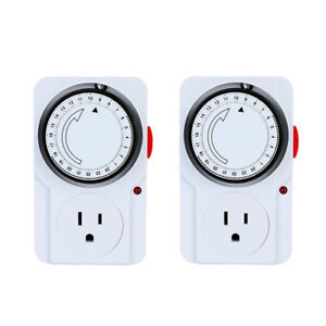 LINEBA Indoor 24-Hour Mechanical Outlet Timer Daily use, 1/2 Pack, 3 Prong