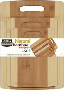 3 Piece Natural Bamboo Cutting Boards with Juice Grooves - BPA Free - Bamboo