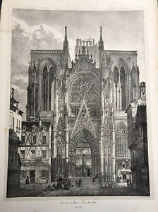 Rouen Cathedral 1823 Lithograph Antique Print Leger Engelmann 12 By 16 Image $48.00