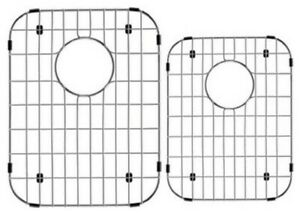 STAINLESS STEEL SET OF TWO DOUBLE BOWEL KITCHEN BOTTOM GRID PROTECTIVE 60/40