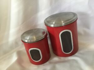 Stainless and Enamel Red Canisters with Lids Set of 2 Nice**