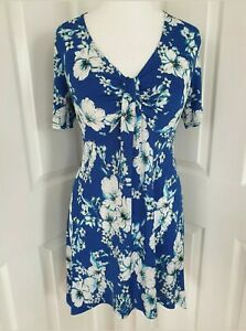 Kaleidoscope NWT UK size 12 blue & white floral loose twist stretch swing top