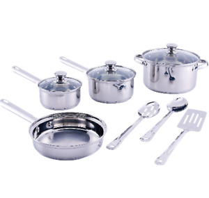 NON STICK COOKWARE SET Stainless Steel 10 Pieces NEW Pots and Pans SET