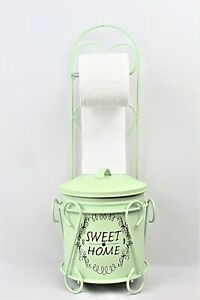 Free Shipping Hand Made Vintage Wrought Iron Toilet Paper Stand with trash can $39.99
