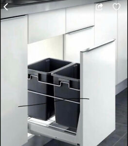 PULL OUT KITCHEN CABINET DOUBLE TRASH BIN DOOR MOUNT SOFT CLOSE ROOL OUT CANS