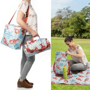 2pc Insulated Cooler Bag Picnic Blanket Mat Leakproof Portable Compact Soft Tote