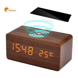 Wooden Fast Wireless Charger With Digital Led Alarm Clock