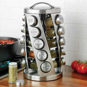 Kamenstein 20 Jar Revolving Spice Rack Stainless Steel New & Free Shipping
