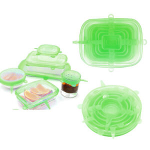 2 Set 12Pcs Green Silicone Stretchable Wrap Lids Bowl Covers Fresh-Care