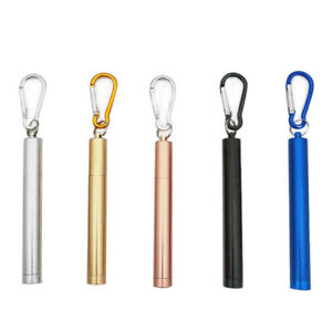 Keychain Collapsible Telescopic Stainless Steel Metal Drinking Straw w/ Cleaner
