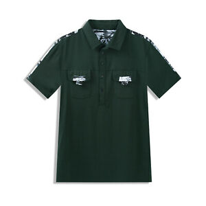 New Mens Camouflage Polo Shirt Short Sleeve Solid Cotton T Shirt Top with Pocket