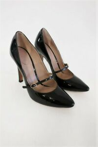 Chloe Mary Jane Pumps Black Patent Leather Heel Size 36