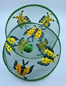 Vintage Wire Mesh Food Cover Dome Floral Butterfly Collectible Spring Picnic Set