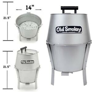 14 in. Small Portable Charcoal Grill Aluminized Steel Vintage Outdoor BBQ Smoker