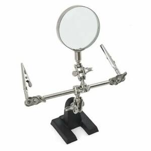 US Third Hand Soldering Solder Iron Stand Holder Magnifier Helping Station Tool $8.69