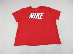 Nike Shirt Adult 4XL XXXXL Red White Spell Out Logo Cotton Mens 90s * $15.10