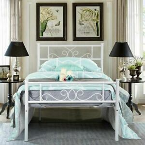 Foundation with Headboard and Footboard White Twin Size Metal Bed Frame Mattress
