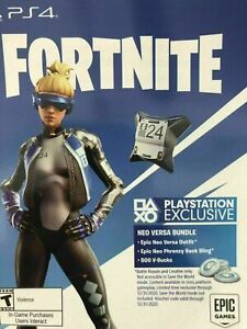 4 X PS4 Fortnite Royale Epic Neo Versa Outfit 500 V Bucks Code 2000 V BUCKS