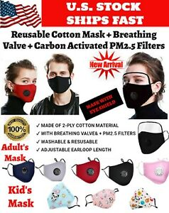Reusable Cotton Face Mask with 2 Filters Built in Breathing Valve Washable LOT
