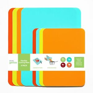 8pc Food Kitchen Cutting Board Mat Set Plastic Flexible Boards Dishwasher Safe $16.99