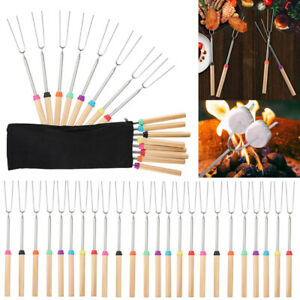 8-40X Telescoping BBQ Marshmallow Roasting Sticks Hot Dog Fork & Thermometer