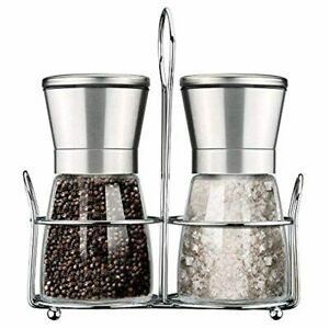 Premium Stainless Steel Pepper & Salt Grinder With Stand Set Of 2 Glass Body Adj