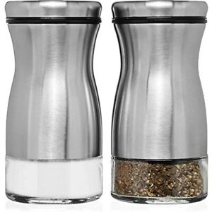 Salt And Pepper Shakers Set With Adjustable Pour Holes - Stainless Steel Kitchen