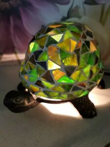 Darling Green Stain Glass Indoor light Tiffany-style Turtle Lamp Cast Iron