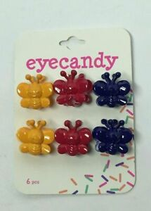 EYECANDY SMALL BUTTERFLY HAIR CLIPS 6CT(3 DIFFERENT COLORS), FREE SHIPPING