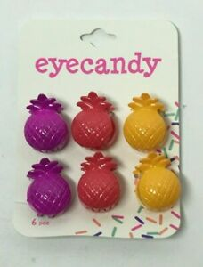 EYECANDY SMALL PINEAPPLE HAIR CLIPS 6CT (3 DIFFERENT COLORS), FREE SHIPPING