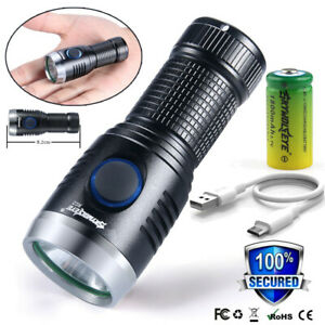 Mini Pocket XPE Tactical Military LED Flashlight Torch USB Rechargeable Lamp $10.21