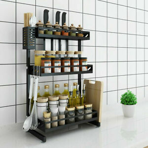 3-Tier Stainless Steel Kitchen Storage Shelf Seasoning Spice Jars Rack Organizer