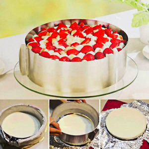 Adjustable Stainless Steel Cake Mold Cookie Fondant Mousse Ring Baking 16-30cm
