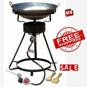 WOK STEEL OUTDOOR BURNER Portable Propane Stove Cooker 24in Camping Yard Cooking